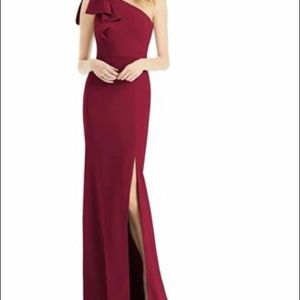 Bow One Shoulder Gown Burgundy